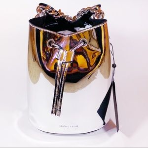 Kendall + Kylie Chrome Silver Bucket Purse Bag